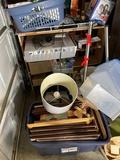 Shelf and misc. household items, frames etc