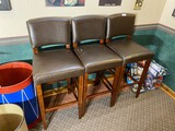Group lot of three bar stools or raised chairs