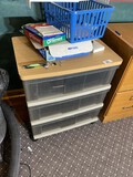 Plastic drawer storage cabinet with wooden top