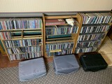 Large lot of industrial, techno, Christian metal etc CDs + Shelves