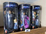 Three Babylon 5 Toys action figures in boxes