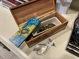 Miniature Cedar box with Glass Birds, Turtle boxes etc