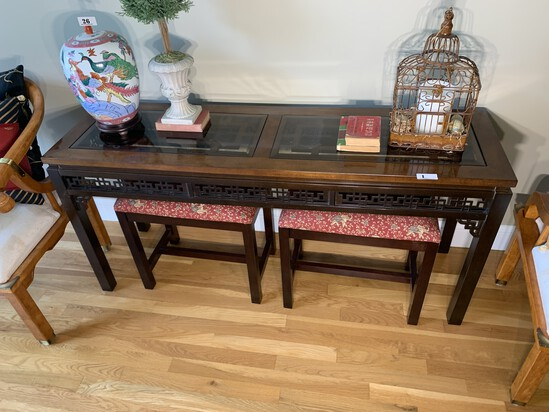 Asian or Chinese Style Console Table and Two Stools