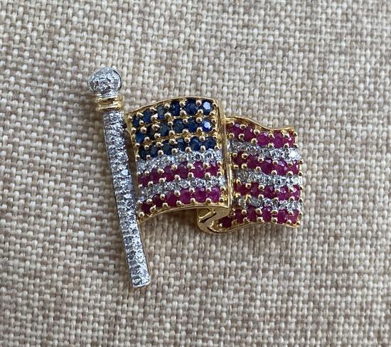 18k Gold Diamond, gemstone American Flag