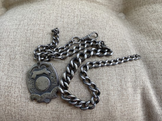 Hallmarked Heavy Sterling Silver Fob and Chain