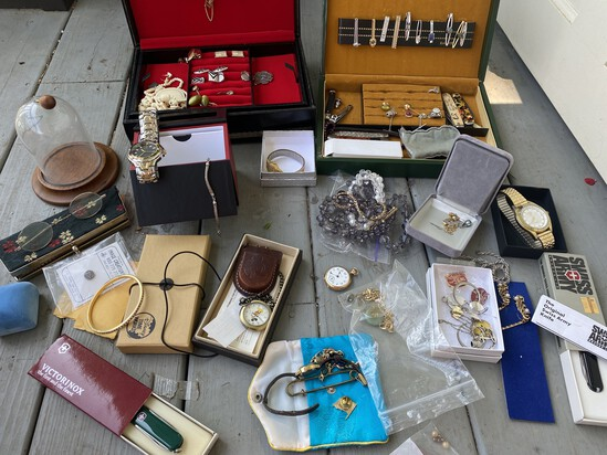 Large lot assorted watches, costume jewelry etc