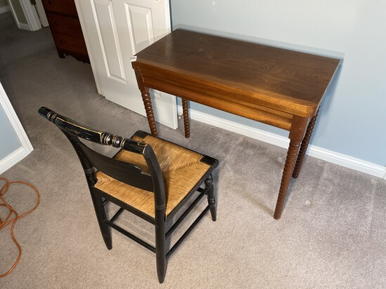 Antique Table with folding top PLUS chair
