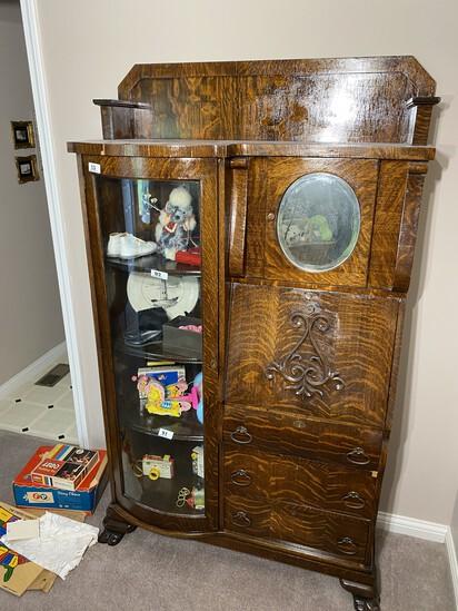 Antique Secretary Desk Dresser with Curved glass