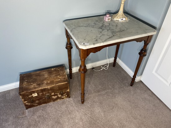 Antique Marble Top Table plus old box