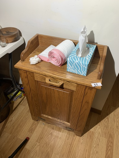 vintage Oak Kitchen Trash Can Cabinet