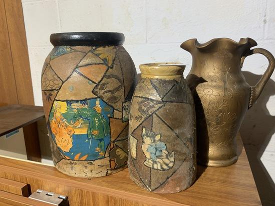 1930 Decorated Stoneware jars PLUS