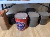 Group lot of lard tins PLUS