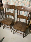 2 Antique Oak Dining Chairs