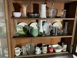Contents of 3 shelves - antiques, vintage etc