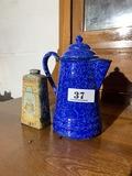 Unusual small blue enamel coffee pot PLUS Egyptian tin