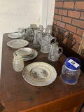 Antique glass, silverplate and china lot
