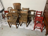 Group lot of 9 smaller antique chairs