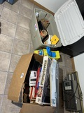 Box and tote of old games, toys