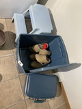Stool, tote, suitcase, wooden shoes