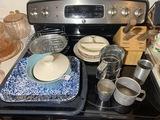 Vintage items on stove lot