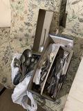 Sterling silver spoon plus old utensils