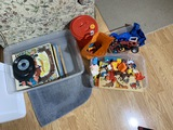 Group lot of toys, old records lot