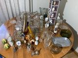 Table lot of vintage glass, salt pepper shakers etc