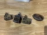 3 small antique banks PLUS sad iron