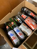 Box of 7UP 1976 bottles etc
