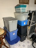 Group lot of empty totes and storage baskets