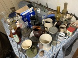 Table lot of country items and primitives
