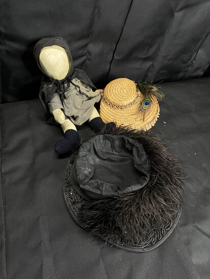 Antique cloth doll + two hats
