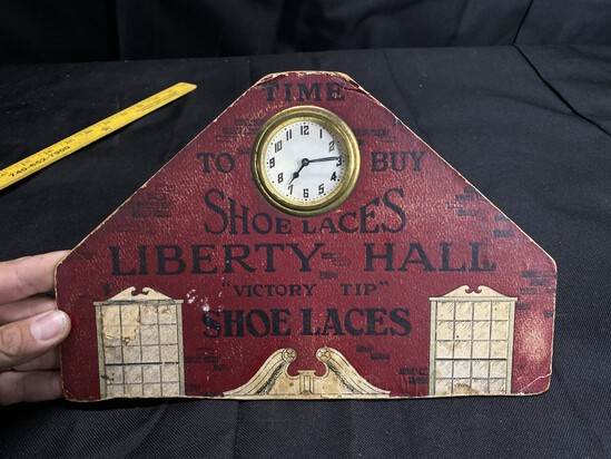 Antique LIberty Hall Shoelaces Advertising Clock