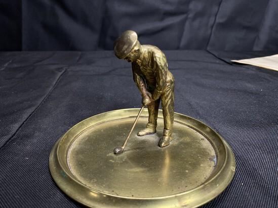 Antique golfer ashtray