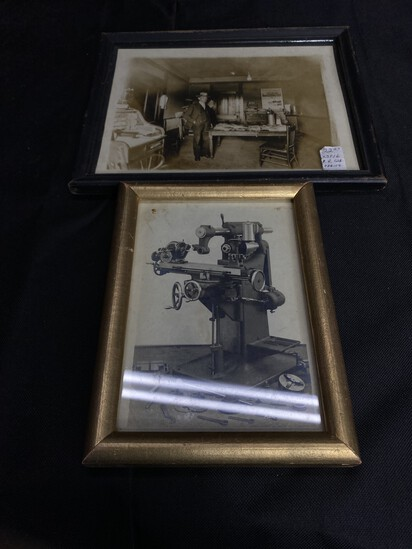 Two Antique Photos - Mill and Railroad office