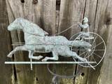 Vintage Copper Horse & Sulky Weathervane