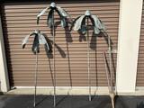 3 Large Copper Bell Flowers - Yard Art