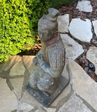 Unusual cement statue of a Chinese Warrior