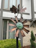 Vertical Kinetic Glass and Metal Outdoor Sculpture