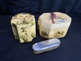 Plastic purse, dresser box, sterling silver brush