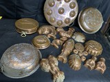 Large lot of antique Copper Food Molds