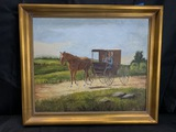 Vintage Oil on Board Painting Amish Couple