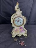 Antique Royal Bonn Ceramic Mantle Clock