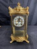 Antique New Haven Mantle Clock in Glass Case