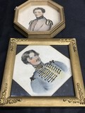 2 hand decorated military portraits