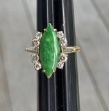 Jade, 10k gold and diamond vintage ring