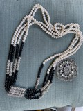 Costume Jewelry Necklace and large brooch