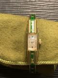 Unusual Bucherer Watch w/Green Enamel