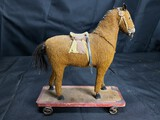 Antique Mohair Toy Horse on Cart