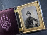 1/4 plate tintype young Civil War Soldier in Union Case